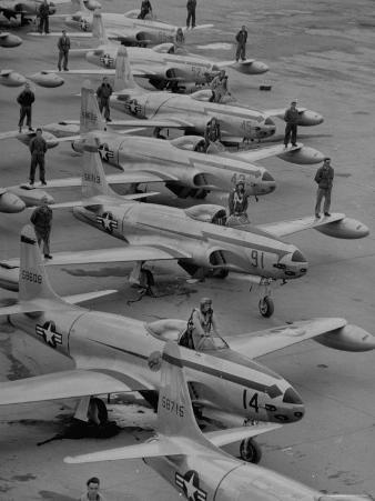 Pilots Posing with Their F-80 Planes