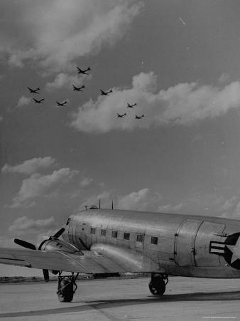 Planes Flying in Formation over B-29