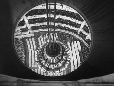 The Circular Tower in the Paris Opera Housing the Chandelier When It is Brought Up