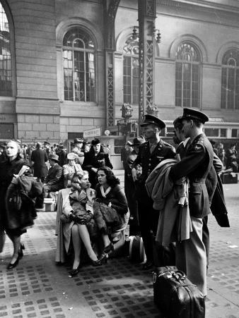 Servicemen and Civilians Waiting For Trains at Pennsylvania Station During Wartime