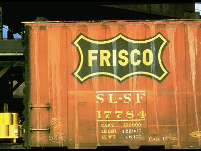 Railroad Box Car Showing the Logo of the Frisco Railroad