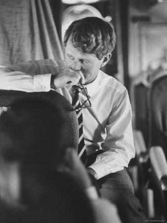 Senator Robert F. Kennedy Aboard Plane During Trip to Help Local Candidates