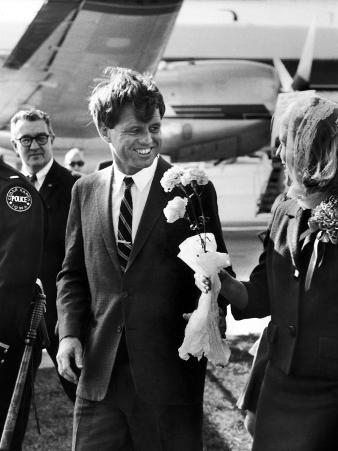 Senator Robert F. Kennedy at Airport During Campaign Trip to Help Election of Local Democrats
