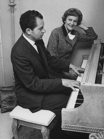 Richard M. Nixon Playing the Piano After He Voted in the California Elections