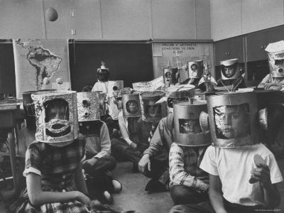 Students in an Astronomy Class Wearing Home Made Space Helmets