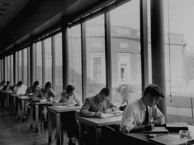 Students Studying at a Library at Harvard University