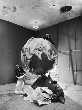 Smithsonian Institution Scientists Dr. Josef A. Hynek Plotting Orbit of Sputnik I