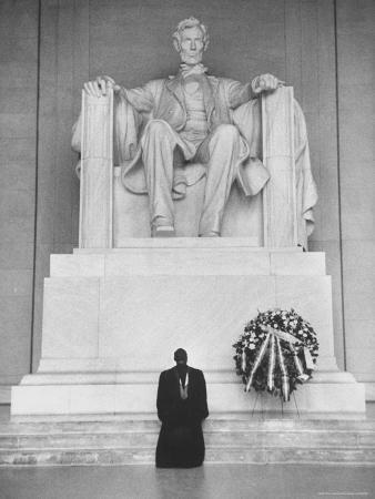 Reverend Daniel Wahl Praying at Lincoln Memorial