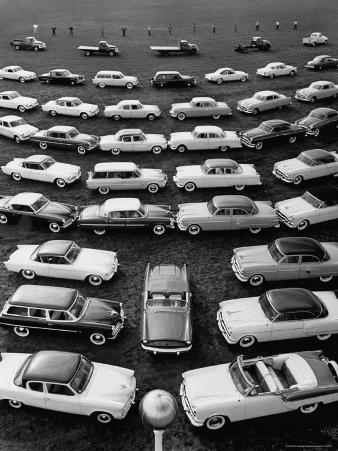 over Head View of Several Rows of New Packard Cars