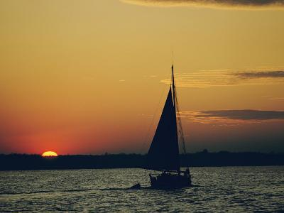 Skipjack Silhouetted at Sunset