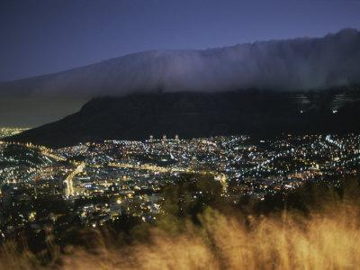 An Elevated View of Cape Town and Table Mountain at Twilight
