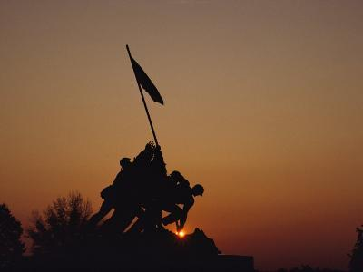Silhouette of the Iwo Jima Monument at Twilight