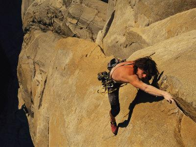 A Man Rock Climbing on El Capitan, Yosemite, California