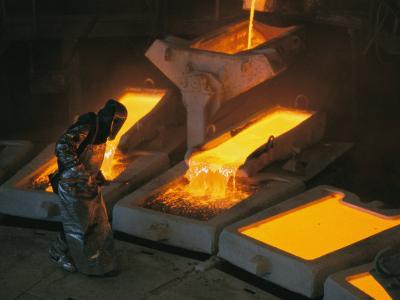 Molten Copper is Poured into Molds at Chuquicamata Copper Refinery