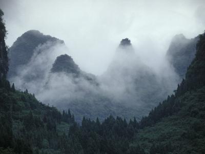Karst Limestone Mountains Above the Li River, Guilin, Guangxi, China