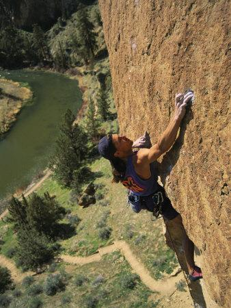 Climber on Smith Rock Above the Crooked River