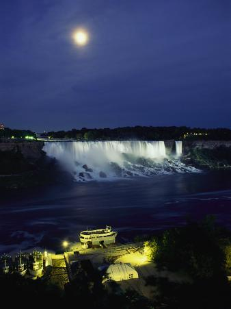 American Side of Niagara Falls, Seen at Night from Niagara Oaks Garden