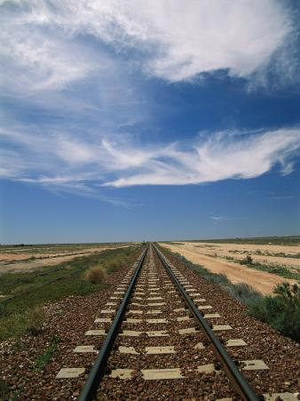 Train Tracks Crossing the Australian Outback