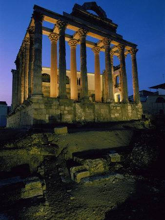View of the Roman Temple of Diana Illuminated at Dusk