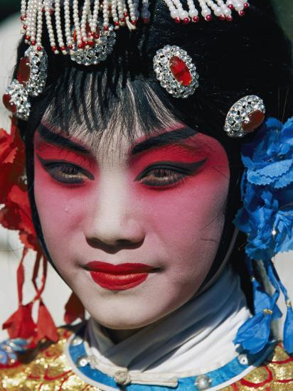Chinese Woman in Theatrical Makeup and Costume Photographic Print by Paul Chesley at AllPosters.com