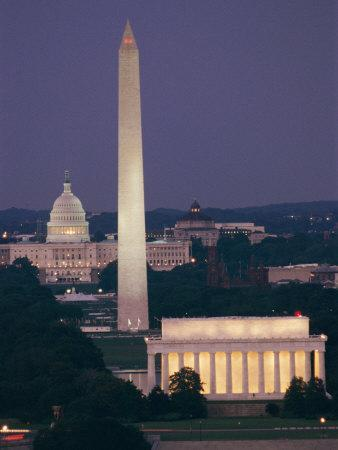 A Night View of the Lincoln Memorial, Washington Monument, and Capitol Building