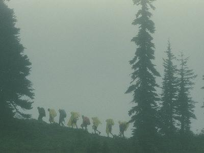 Silhouette of Girl Scouts Hiking Along a Mountain Trail in the Fog
