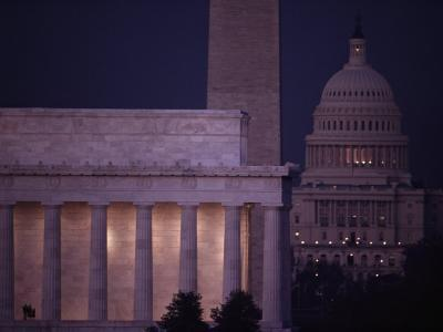 A View of the Lincoln and Washington Monuments, and the U.S. Capitol