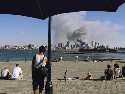 Onlookers Watch Smoke Billowing over Manhattan, September 11, 2001