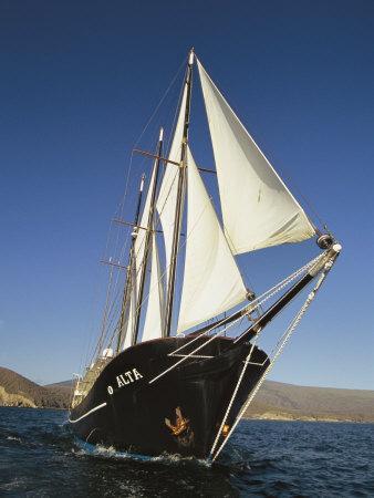 Ship Sailing Through the Galapagos Islands