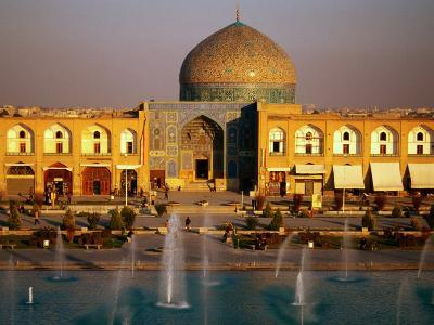 Overhead of Fountains Outside Sheikh Lotfollah Mosque, Emam Khomeini Square, Esfahan, Iran