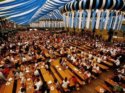 Overhead of Oktoberfest Drinking Session in Theresienwiede Fairgrounds Beer Tent, Munich, Germany
