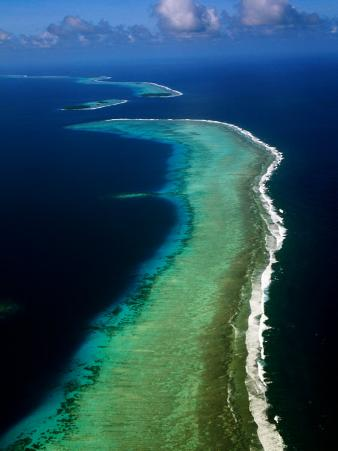 Aerial of Barrier Atoll, Micronesia