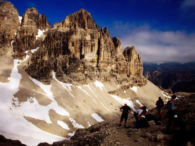 Hikers Resting at Bamberger Saddle, Gruppo Sella, Dolomites, Italy