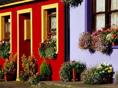 Cottage Facades Decorated with Flowers, Eyeries, Ireland
