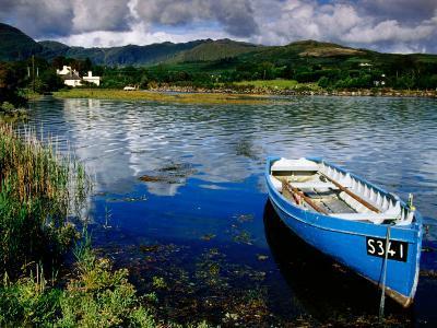 Wooden Boat Tied up on Beara Peninsula, Adrigole, Ireland
