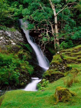 Waterfall and Stream, Kylemore Lake, Connemara, Ireland