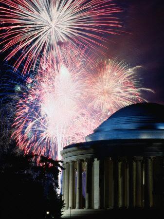 Fireworks Exploding Over Jefferson Memorial, Washington Dc, USA