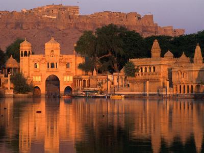 Fort Overlooking Tilon-Ki-Pol and Gadi Sagar at Dawn, Jaisalmer, India