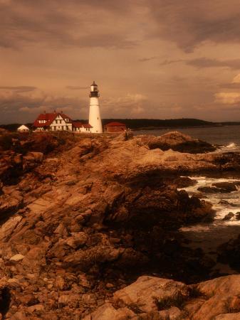 Museum and Portland Head Light House at Cape Elizabeth, Portland, Maine, Portland, USA