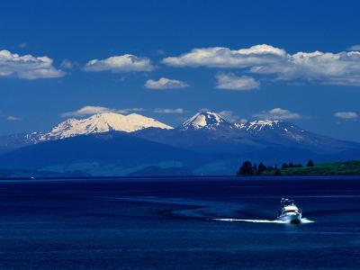 Boat Sailing with Mt. Ruapehu, Mt. Ngauruhoe and Mt. Tongariro in Background, New Zealand