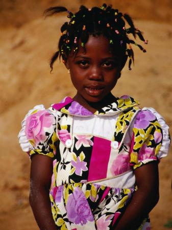 Portrait of Young Girl, Looking at Camera, Sassandra, Cote d'Ivoire