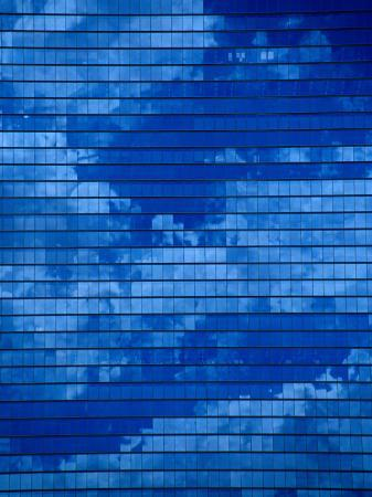 Clouds Reflected in an Office Tower in Kyobahi, Osaka, Kinki, Japan,