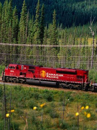 Canadian Pacific Railway Near Vermillion Lakes and Mt. Rundle, Banff National Park, Alberta, Canada