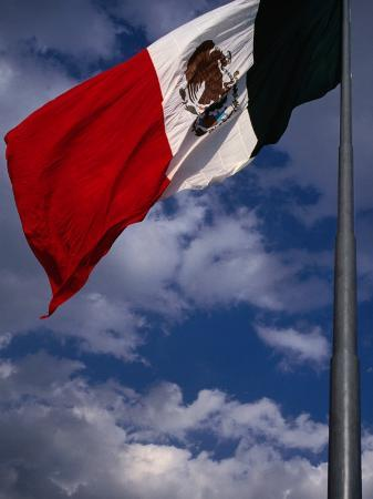 Large National Flag Flying in El Zocalo, Mexico City, Mexico