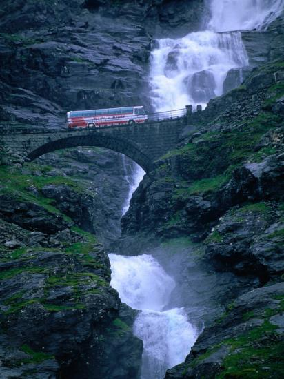 Bridge Crossing Waterfall On Trollstigen Road Andalsnes