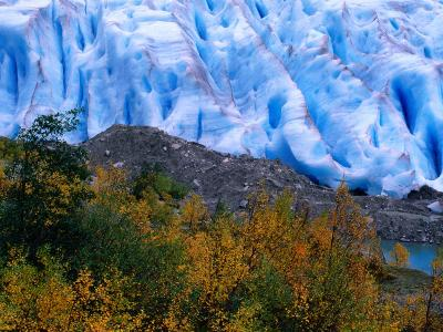 Autumn Colours and Icefall at Briksdalsbreen Glacier, Finnmark, Norway