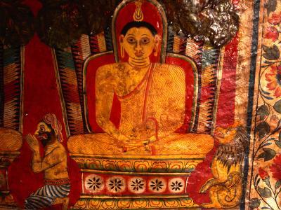 Paintings of Buddha in Mulkirigala Rock Temple Near Tangalla, Tangalla, Sri Lanka