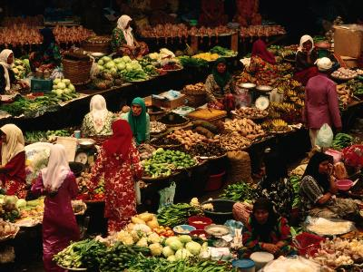 Food Stalls and People at Central Market, Kota Bharu, Kelantan, Malaysia