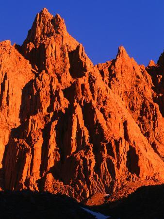 Sunlight on Rocky Crag in the Sierra Nevada, on the Whitney Portal Trail, Inyo National Forest