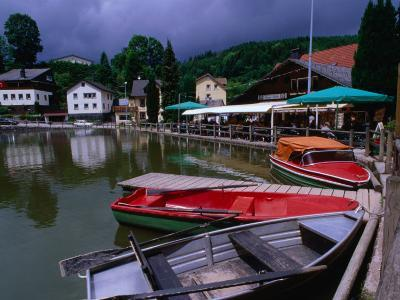 Boats, Inn and Restaurant Above Waterfall Trail in Black Forest, Triberg, Germany